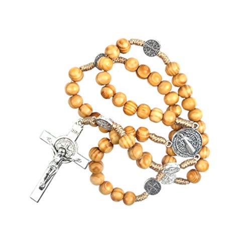 Garneck Rosario Cuentas de Madera Collar Sagrado Medalla Cruz Ornamento Cristiano Suministros Artesanías de Regalo para El Hogar Católico Cristiano (42 Cm)