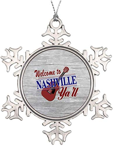 PotteLove Personalized Christmas Tree Decoration Welcome to Nashville Ya'll 3 Inch Christmas Snowflake Ornament Tennessee
