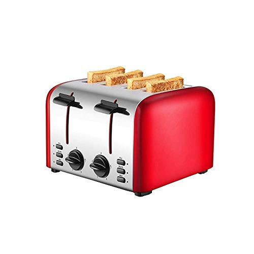 Tostadora 4 Rebanada con ranura adicional, tostadora de acero inoxidable con 5 ajustes de tostado para una bandeja de miga rápida e incluso tostada, color rojo: A (Paquete de 2) fangkai77