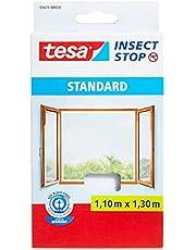 tesa Insect Stop Standard Vliegenhor voor Ramen - Insectenhor, raamhor - Met klittenband - Snij uw eigen horraam op maat - Muggenhor, wit, 110 cm x 130 cm