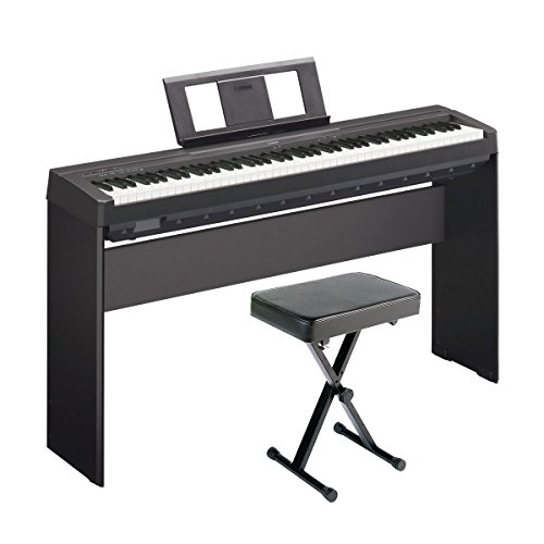 YAMAHA P45 88-Key Weighted Digital Piano Home Bundle With Wooden Furniture Stand And Bench