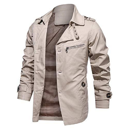 YEE Chaqueta Abrigo de algodón Nuevo Abrigo de Solapa de Gran tamaño de otoño e Invierno,Beige-4X-Large