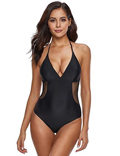 FeelinGirl Damen Bustier Bikini High Neck Bikini-Set Druck Push up Badenanzug Blumendruck Neckholder Swimsuit Zweiteilig Schwimmanzug S Schwarz