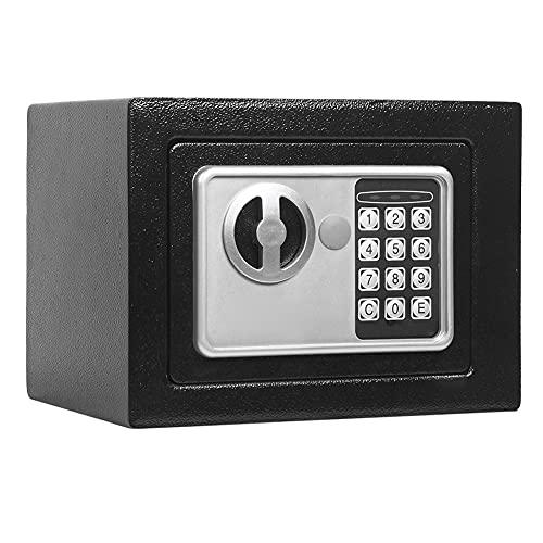 LAIDEPA Scatola di Sicurezza di Blocco Combinata Elettronica per La Casa, Cassaforte Sicura con Chiusura A Chiave Doppia Mobili in Acciaio Cassaforte,23 * 17cm