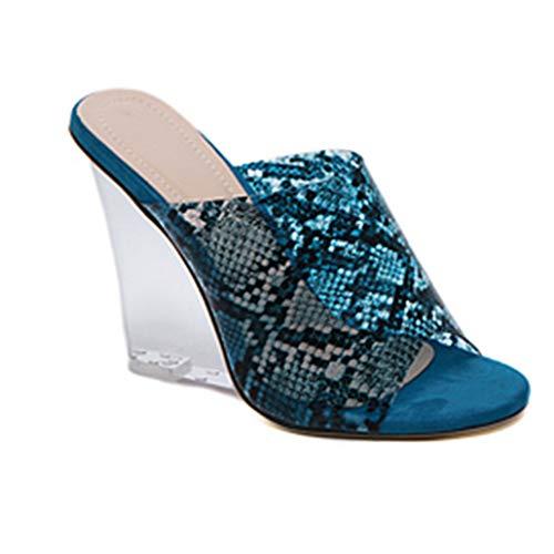 El tacón alto transparentes tacones de piel de serpiente de cristal de la cuña de las zapatillas sandalias de la señora Europa Ligera salvajes Amigos que recolectan los más bellos mejor opción,Azul,40