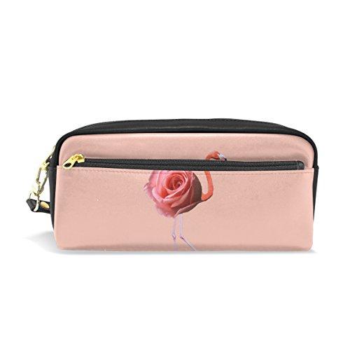 ISAOA Trousse à crayons de voyage - Trousse de maquillage - Robe de flamant rose avec roses - Grande capacité - Portable - Cadeau pour enfants et femmes