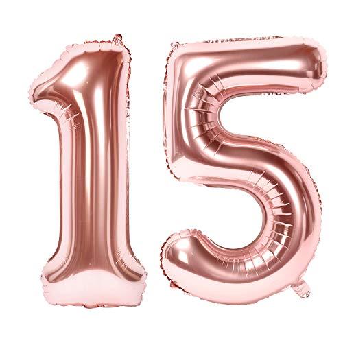 Siumir Globos de Numero Oro Rosa Número 15 Grande Globos de Cumpleaños Papel de Aluminio Globos Decoración de Fiestas de Cumpleaños