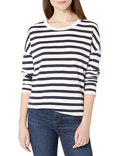 Goodthreads Tunika mit seitlichem Schlitz aus Baumwolle Tunic-Shirts, Weiß/Marineblau gestreift, XXL