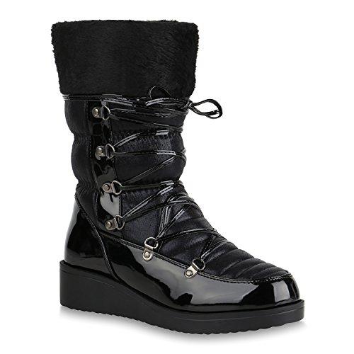 Damen Winterstiefel Warm Gefütterte Stiefel Wedges Schuhe Boots 153939 Schwarz Black Berkley 37 Flandell