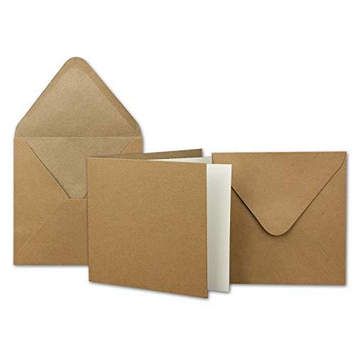 75x Kraftpapier-Karten Set quadratisch 13,5 x 13,5 cm mit Brief-Umschlägen & Einlege-Blätter - Recycling Vintage Karten-Set - für Einladungen