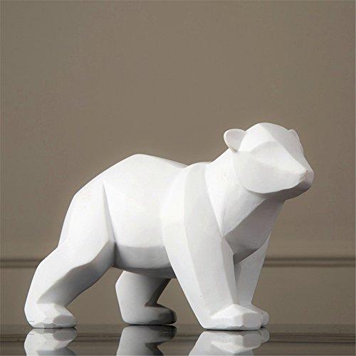 Resina astratta bianca orso polare scultura figurine artigianato Home Desk Decor resina geometrica fauna orso statua mestiere (grande)