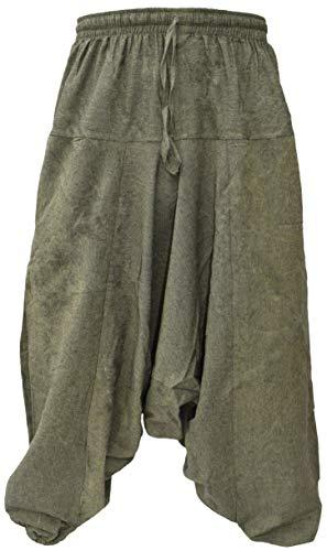 Little Kathmandu Herrenhose, Baumwolle, Hanf, weite Beine, tiefer Hosenschritt, Ninjahose, Grün (Green Hemp), L