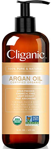 Cliganic Organic Argan Oil, 100% Pure | for Hair, Face & Skin | Cold Pressed Carrier Oil, Imported from Morocco