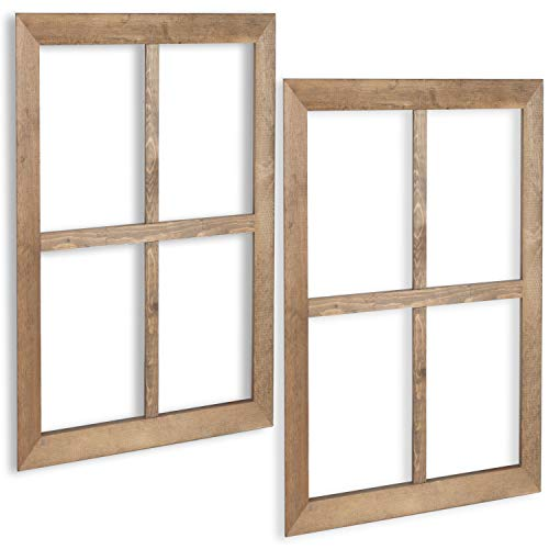 Ilyapa Window Frame Wall Decor 2 Pack - Large 18x22 Inch Rustic Wood Window Pane Country Farmhouse Decorations