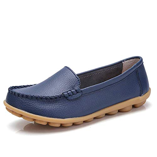 Harence Women's Soft Comfort Leather Loafers Slip On Driving Walking Flats Shoes Darkblue