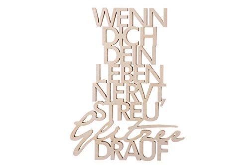 3DTYPO - made by NOGALLERY - Wenn dich dein Leben nervt, streu Glitzer drauf - 3D Schriftzug, hellgrau,  21 x 15,8 cm