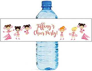 Cheerleader Party Theme Water Bottle Labels, Great for School Events, Birthday