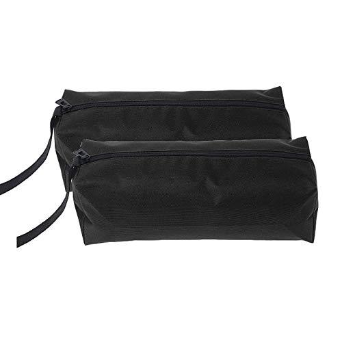 SUPERTOOL Paquete de 2 bolsas de lona para herramientas pequeñas, multiusos, resistentes, con bucle para colgar, para llaves, destornilladores, etc. (L, negro)