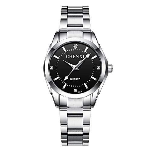 XLORDX - Reloj de Pulsera clásico para Mujer, de Acero Inoxidable con Brillantes, analógico, de Cuarzo, Negro
