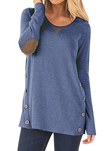 NICIAS Damen Seitliche Tasten Langarmshirt Pullover Lässige Rundhals Sweatshirt Ellenbogen Gepatcht Hemd Lose T Shirt Blusen Tunika Top(Blau, M)