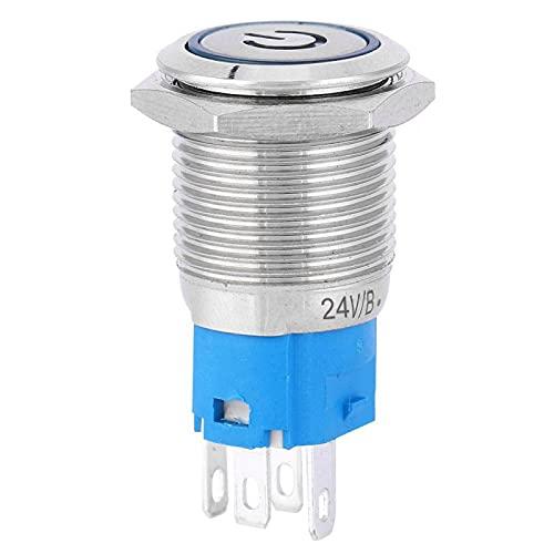 Anillo de botón de metal, LED azul con cabeza redonda plana y auto-reinicio Anillo de botón de metal con símbolo de poder de 16 mm(3)