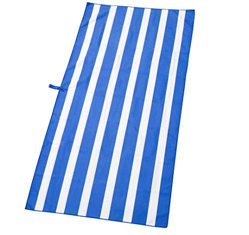Exerz Toalla de Playa/Deportivas 160x80cm Microfibra - Viajes, Gimnasio, Acampar, Nadar, Yoga, Natación, Baño,Vacaciones -Altamente Absorbente Compacto Ligero y de Secado rápido (Azul)