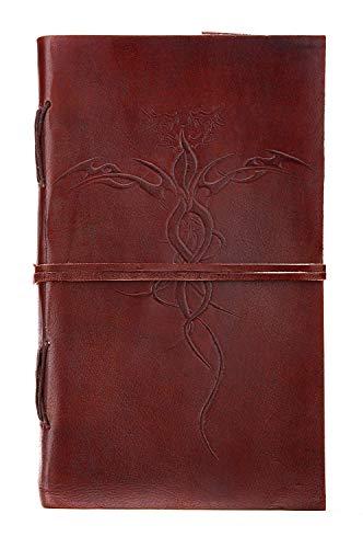 Regalo romantico: Libro vuoto Taccuino in pelle e carta realizzata a mano 23 cm x 13 cm Dragon