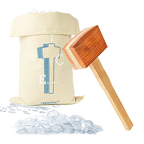 TMKEFFC Ice Mallet Lewis Bag Bartender Kit, Manual Wood Splicing Hammer and Reusable Three-layer thickened Canvas Bag for Ice Crushing, Craft Cocktail Tool for Home Party Bar Kitchen Restaurant