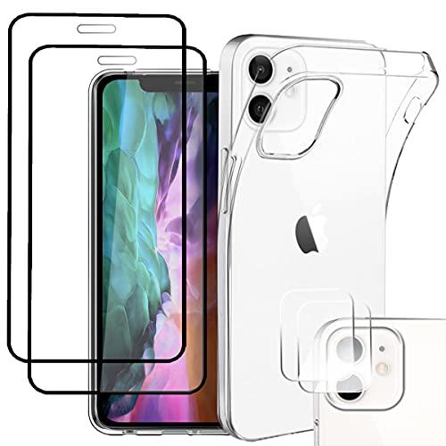 Pengkun 5 en 1 Funda para iPhone 12 con 2 Cristal Templado 2 Cristal Templado para cámara Trasera Transparente Silicona TPU para iPhone 12