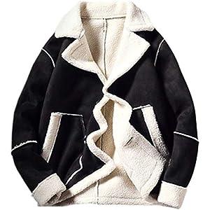 [ミートン] 厚手 ムートンコート メンズ セーム革 スエード 防寒ジャケット ブルゾン ファー アウター ボアコート 裏起毛 暖 秋冬 カジュアル ブラック2XL