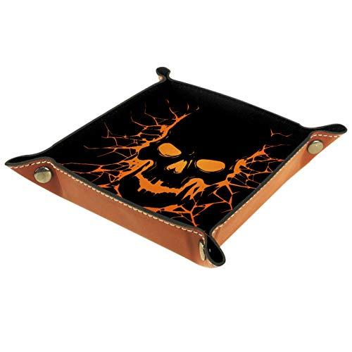 MUMIMI Bandeja organizadora para anillos de joyería con diseño de calavera negra con agujero para grieta