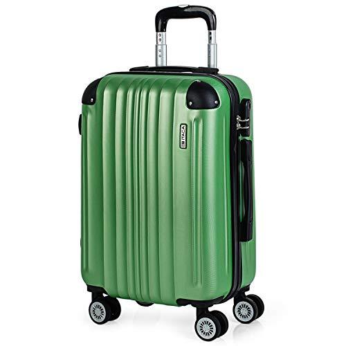 ITACA - 771050 Maleta Trolley 50 cm Cabina ABS. Equipaje de Mano. Rígida, Resistente y Ligera. Mango Telescópico, 2 Asas y 4 Ruedas. Low Cost Ryanair, Color Verde