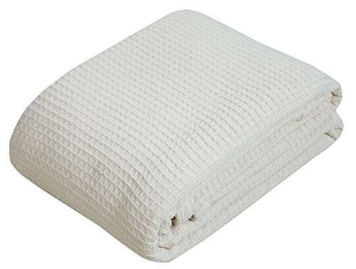 100% Soft Premium Ringspun Cotton Thermal Blanket - Twin/Twin XL - Ivory - Snuggle in These Super Soft Cozy Cotton Blankets - Perfect for Layering Any Bed - Provides Comfort and Warmth for Years