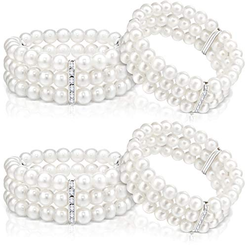 4 Piece Faux Pearl Bracelet 3-Row Pearl Stretch Bracelet Multilayer Pearl Elastic Bangle for Wedding Jewelry 1920s Costume