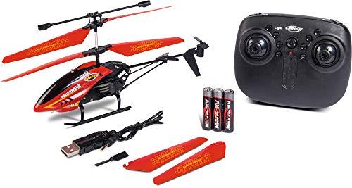 Carson 500507138 - Easy Tyrann 180 Feuerwehr 2.4G 100% RTF, LED Scheinwerfer und Warnlicht, Ferngesteuerter Helikopter, RC Helikopter, inkl. Batterien und Fernsteuerung, 100% flugfertig rot