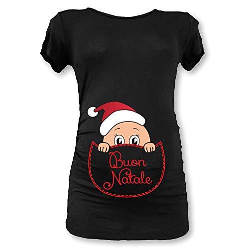 Babloo T Shirt Natale Maglia Premaman Natalizia Tasca Buon Natale (Manica Corta, Nera)