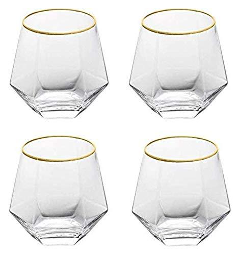 WHZG Copa de vidrio para el hogar Copa de vidrio de whisky Cerveza de cristal de cristal Diamante Hexagonal Base gruesa para el café de leche de leche de vidrio transparente, esquema en oro, conjunto