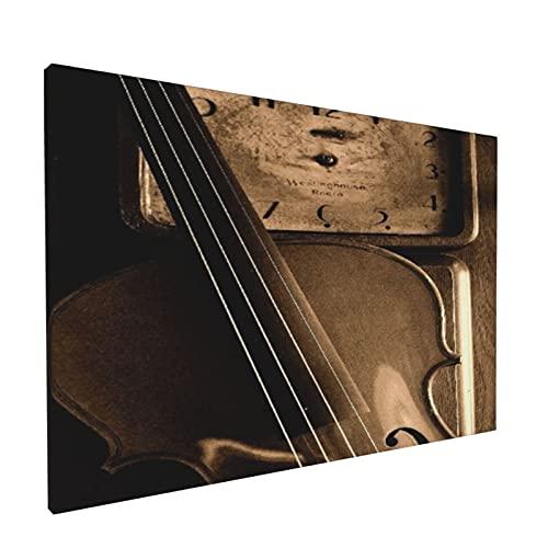 Impresiones de arte de pared,Música de violín Reloj antiguo Música de viol, Pintura moderna enmarcada óleo sobre lienzo para sala de estar dormitorio principal Decoración 18x12 pulgadas
