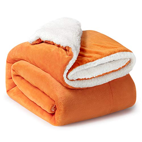Bedsure Sherpa Fleece Blanket Throw Size Orange Fall Throw Blanket Fuzzy Soft Plush Blanket