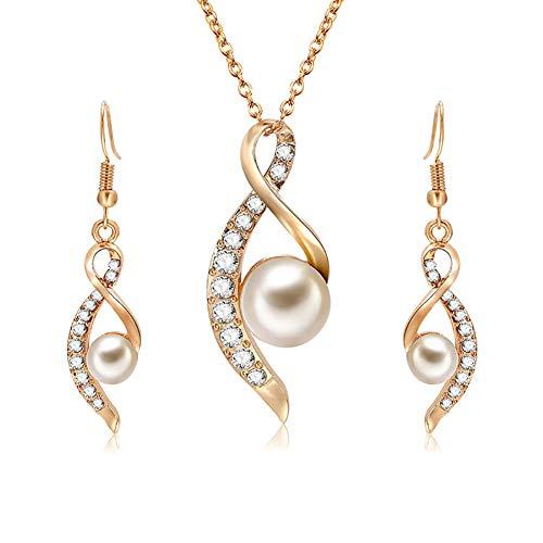 Hacoly Fashion - Juego de Pendientes y Gargantilla con Perlas y Cristales Decorativos