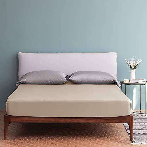 Vanc Home Spannbetttuch mit Tiefen Taschen 40cm Mako Satin Ägyptische Baumwolle Spannbettlaken (Beige, 120x200x40cm)