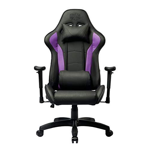 Cooler Master Caliber R1 Gaming Chair for Computer Game, Office and Racing Style Gamer, Comfy Ergonomic Reclining High Back Desk Chairs with Arms & Seat Adjustment Lumbar Support PU Leather, Purple