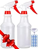 Empty Spray Bottles (16oz/2Pack) - Adjustable Spray Bottles for Cleaning Solutions - No Leak and Clog - HDPE spray bottle For Plants, Pet, Bleach Spray, Vinegar, BBQ, and Rubbing Alcohol.