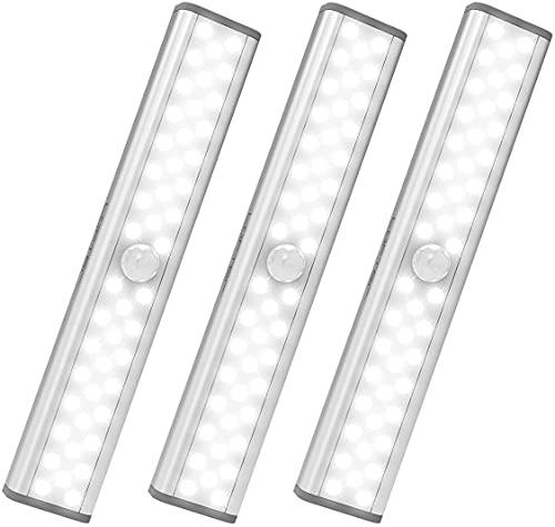 LED Sensor Licht mit 46 LED, LOFTer Dimmbare Schrankbeleuchtung mit Bewegungsmelder für Kleiderschrank/Treppe/küche, Kleine Wiederaufladbare Akku led lichtleiste mit 3 Arbeitsmodi, Magnetstreifen