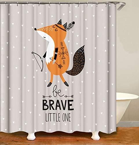 Gelber Fuchs des Musters des weißen Fuchses der Karikatur & Schwarze Buchstaben auf grauem Hintergr& Hochwertiger, abriebfester, wasserdichter, schnell trocknender Duschvorhang für das Badezimmer