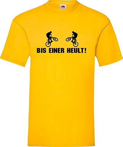 Shirtinstyle T-Shirt BIS Einer HEULT Biken BMX Downhill Cruisen Fahrrad Fun Shirt Farbe gelb, Größe S