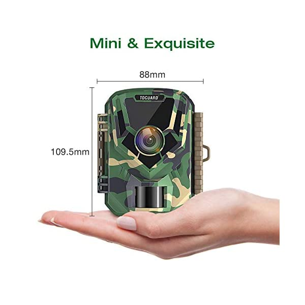 TOGUARD Mini Wildlife Camera 12MP 1080P Trail Game Cams with Night Vision Small Waterproof Hunting Trap Camera with 120° Wide Angle Lens 2 Inch LCD Screen for Observation and Home Security