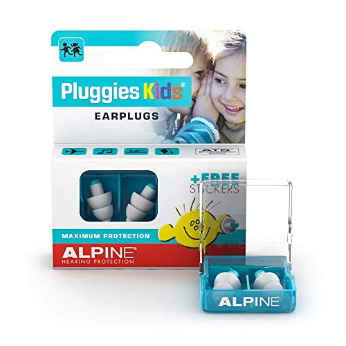 Alpine Pluggies Kids Ear Plugs - for Children and Smaller Ear canals - for Flying and Swimming - Comfortable Hypoallergenic Material - Reusable earplugs