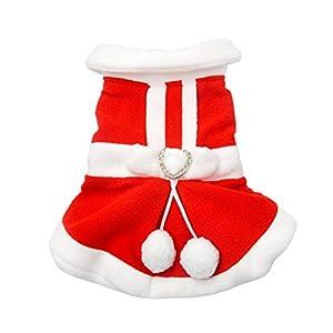 Manteau Costume Veste Déguisement Noël de Chien Chiot Chat Vêtements Chaud D'hiver en Polyester Design de Deux Pattes avec Nœud Papillon sur le Dos