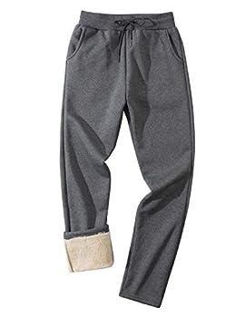 Gihuo Men s Winter Fleece Pants Sherpa Lined Sweatpants Active Running Jogger Pants  2# Dark Grey Large